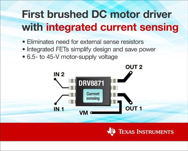 Texas Instruments представляет первые драйверы с интегрированным датчиком тока