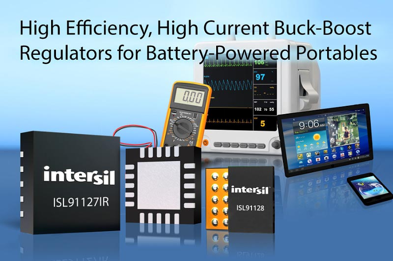 Intersil анонсировала высокоэффективные сильноточные повышающе-понижающие стабилизаторы для портативных приложений с батарейным питанием