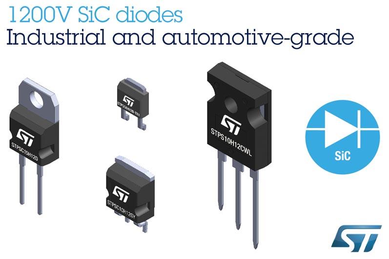 STMicroelectronics выпускает новое семейство 1200-вольтовых карбид-кремниевых диодов