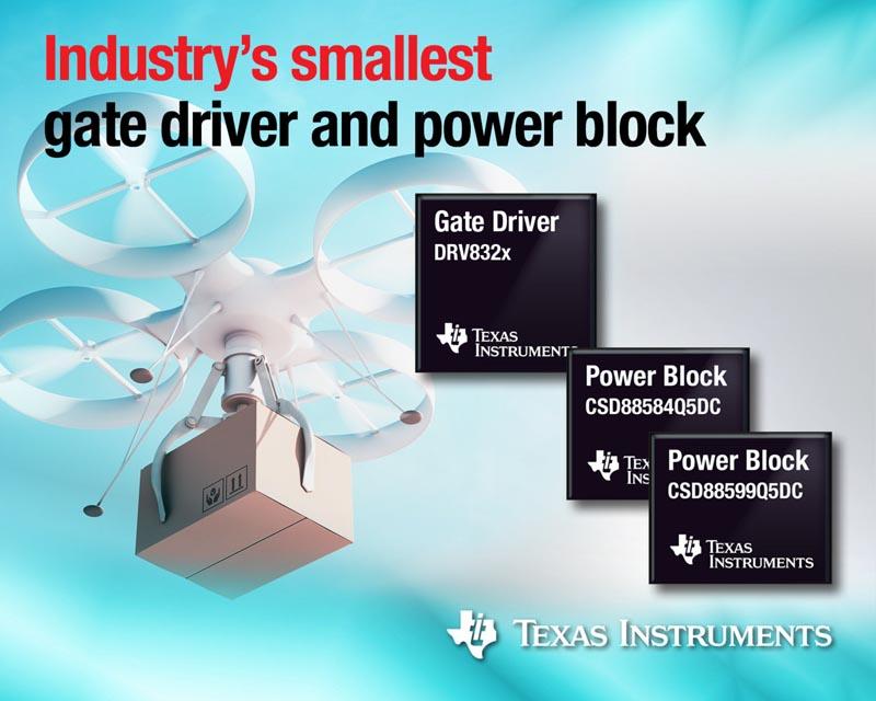 Texas Instruments представляет самый миниатюрный в отрасли драйвер затворов и силовые MOSFET для управления двигателями