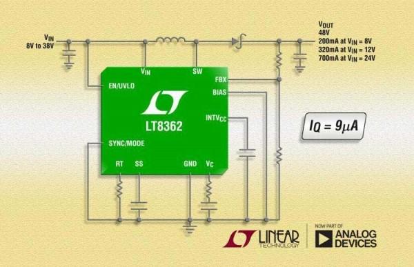 Analog Devices выпускает универсальный 2-мегагерцовый DC/DC преобразователь с собственным током потребления 9 мкА