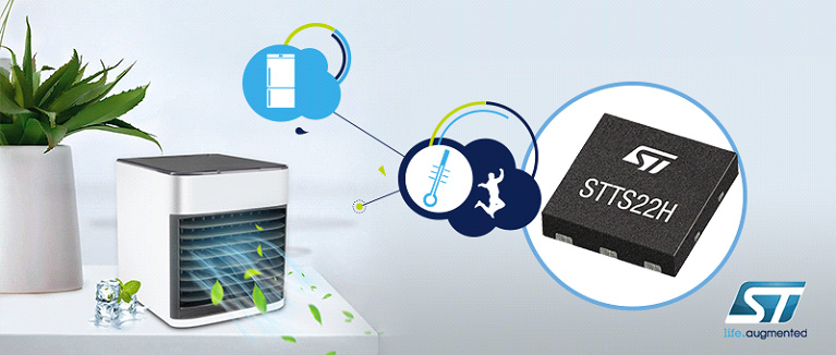 Миниатюрный чип STMicroelectronics STTS22H повышает точность I2C-датчиков температуры